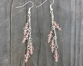 Pale Pink and Silver Chain Earrings