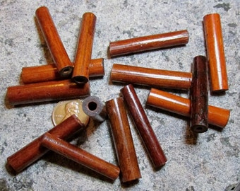 10, 25, or 100 Bamboo Wood Tubes- 1.5 Inch/ 40mm Length- Reddish/ Brownish Tones- Beads salvaged from NOS wood beaded door curtains