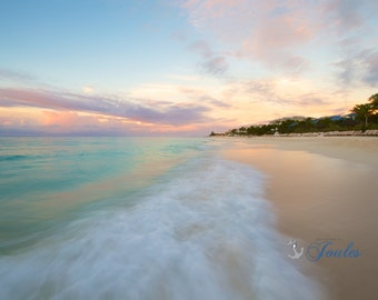 Sunset Stroll ~ Providenciales, Turks and Caicos, Sunset, Beaches, Waves, Coastal Decor, Nautical Photograph, Artwork, Wall Art, Caribbean