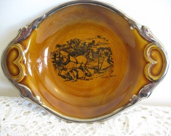 "Ridgway Pottery,Coaching Ways & Coaching Days,Small Bowl/Dish/Handles /Staffordshire England/Horses on Plough,""Fresh Teams"",Vintage Plate"