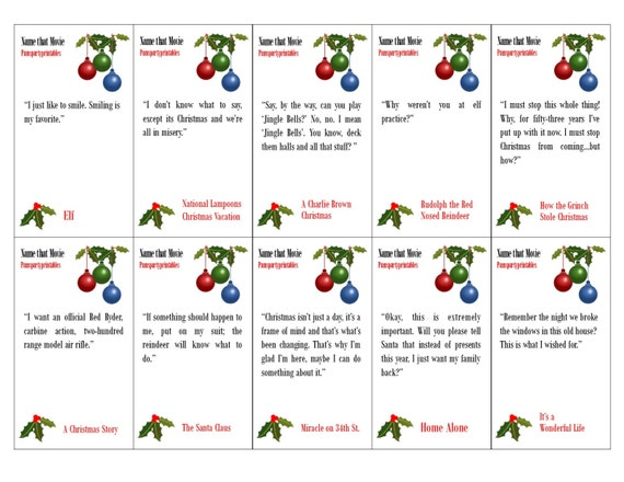 Free Christmas Printables With Favorite Movie Quotes: Christmas Movie Quote Game