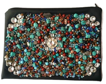 Beaded Boho Clutch, Boho Clutch, Beaded Clutch, Black Leather Clutch, Faux Leather Purse, Embellished Boho Clutch, Faux Leather Clutch