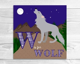 Instant Download: W is for Wolf Wall Art Print // Baby Art, Nursery Art, Alphabet Art