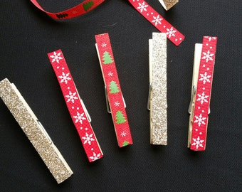 Holiday Decorated Clothes Pins (Set of 6)