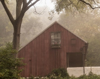 Red Barn in Fog Pennsylvania Photography 8 x 12 archival print