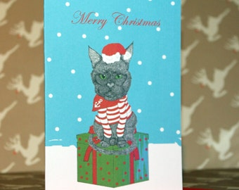 Black cat Christmas card pack of 4