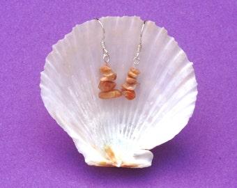 Indian Moonstone earrings, Sterling silver earrings, Moonstone earrings, Gemstone earrings, moonstone drop earrings, beige peach earrings