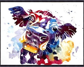 Digital Download, COW - Original Watercolor Painting by Tara Tet