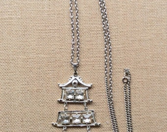 SALE Large Retro Silvertone Rhinestone Pagoda Pendant Necklace