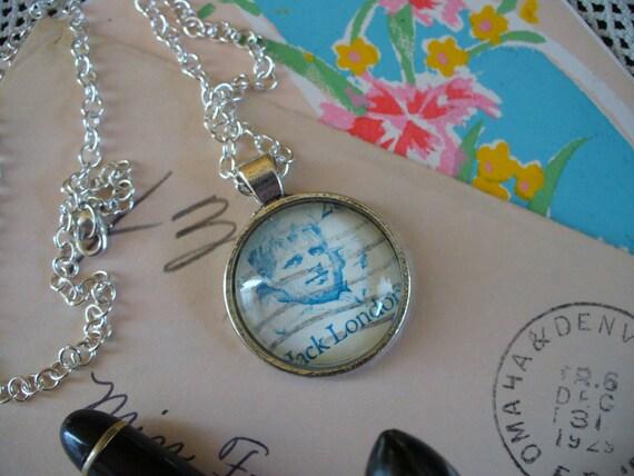 Stamp Jewelry, Stamp Necklace, Vintage Stamp, Stamp Pendant, Pendant Necklace, One of a Kind, Jack London Stamp, MarjorieMae