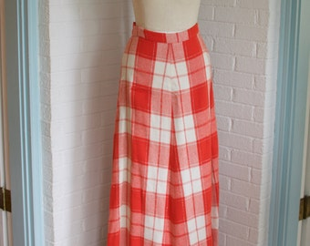 Vintage Red and White Plaid Skirt