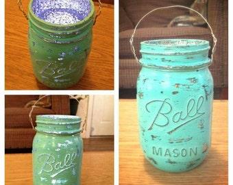 Turquoise Glitter Mason Jar