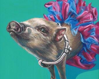 Mini Pig Portrait, custom pet portrait, mini pig painting, pig drawing, 10x10 on a wooden canvas using acrylic by Letitia's Art