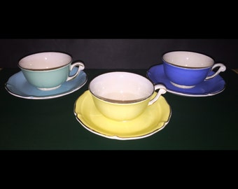 Vintage French Porcelain Cups & Saucers in Pastel Colors, Gold Rims // 3 Matching