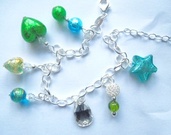 Sterling silver blue and green Murano glass charm bracelet with Swarovski.