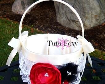 Flower Girl Basket, Lace Flower girl Basket, Ivory Flower girl basket, Red Black and Ivory Flower girl basket