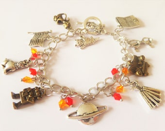 BIG BANG THEORY inspired silver & bronze charm bracelet - fan gift - sheldon, penny, leonard, amy