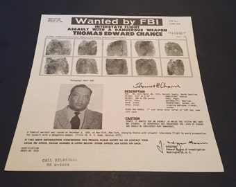 Vintage FBI Wanted Poster / FBI Poster / Wanted Poster / Wanted By FBI / Thomas Edward Chance /