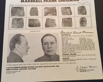Vintage FBI Wanted Poster / FBI Poster / Wanted Poster / Wanted By FBI / Marshall Frank Chrisman