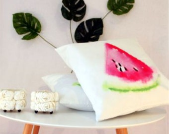 Watercolour watermelon cushion perfect for summer and indoor or outdoor 45x45 18x18