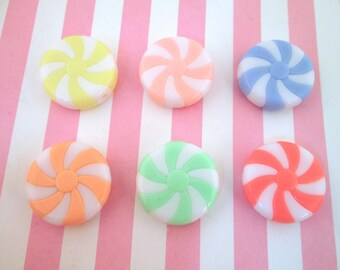 Pastel Peppermint Candy Swirl  Beads or Cabochons, Pick Your Amount, #036