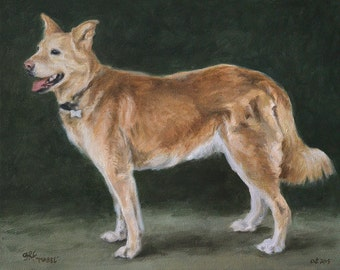 Pet portrait custom dog portrait - oil painting on stretched canvas, from your photographs.