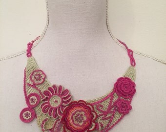 hand made pink necklace
