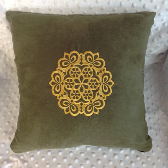 Olive Green Embroidered Throw Pillow Cover Olive & Gold