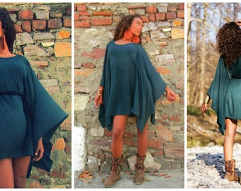 Short Dress -Poncho stlye/ with beautifuly cascading sleeves