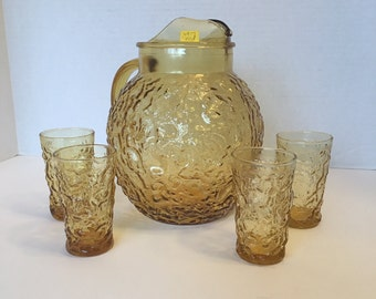 Vintage Anchor Hocking Milano Lido Amber Pitcher and Four Glasses~ Gold Pitcher ~  Gold Glasses ~ 1960's