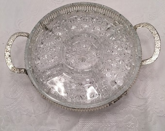 Vintage Clear Glass Divided Serving Tray or Platter with Silvertone Metal Holder ~ Four Sections