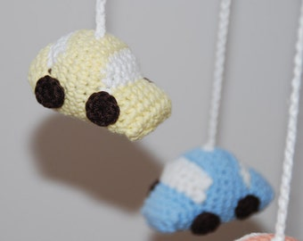 Crochet mobile car (yellow/blue/orange/turquoise)