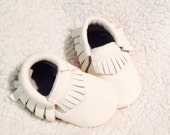 White Fringe Leather Moccasins, Baby Gift, Infant, Toddler