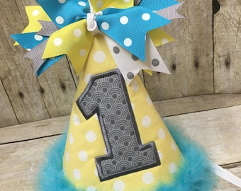 Customize Birthday Hat, Personalized Birthday Hat, 1st Birthday Hat, First Birthday Hat, Turquoise, Gray, Yellow, Birthday Hat, Birthday
