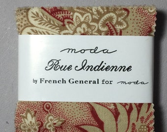 """French General RUE INDIENNE Mini Charm pack 2.5"""" squares"""