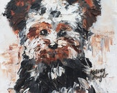Yorkshire Terrier Puppy Painting - Original, oil on canvas, artwork 6 x 8 inches, mini art piece of dog, abstract / impressionistic artist