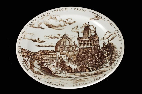 Prague Souvenir Plate, Made in Czechoslovakia, Brown and White, Inglazed, Collectible Plate
