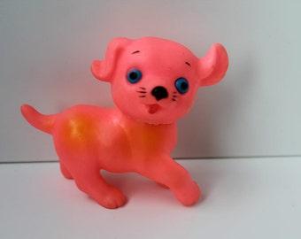 Vintage Rubber Pink/Orange Puppy Japan