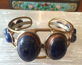 Vintage lapis lazuli and mixed metal cuff