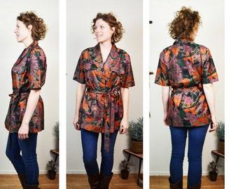 Vintage floral safari blouse