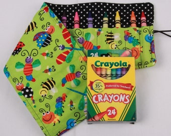 Crayon Roll Cute Bugs, Crayon Holder, Birthday Party Favor, 16 crayon holder - 24 Crayola Crayons Included