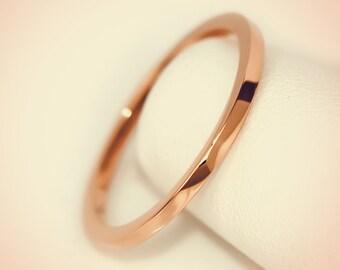 14K Rose Gold Plain Flat Top Midi Fashion Ring/ Midi Ring/ Knuckle Ring/ Stacking Ring/ Upper Finger Ring/ Gift for her