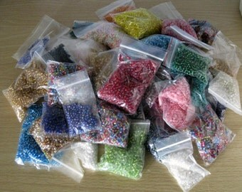 7 Pound Lot of Glass Beads, 6/0 beads, large box of glass beads, seed bead lot, rainbow of colors, multi color beads, seed beads, glass bead