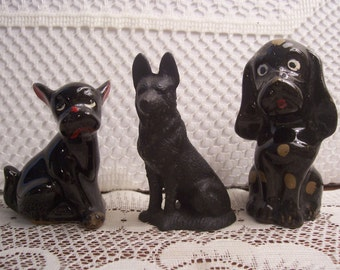 Assorted Redware and Cast Iron Dog Figurines