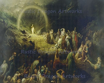 "Gustave Dore ""The Vale of Tears"" 1883 Reproduction Digital Print Jesus Carrying a Cross Enlightenment Souls"