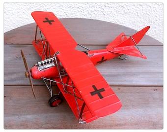 Metal Red Baron German Propeller Biplane Model