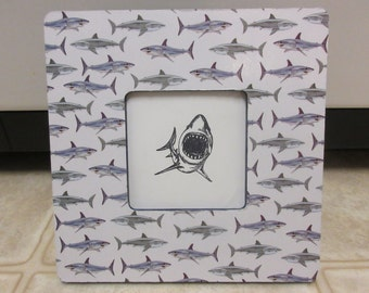 Wood Picture Frame-Shark Picture Frame-Beach Decor-Shark Decor-Fishing Decor