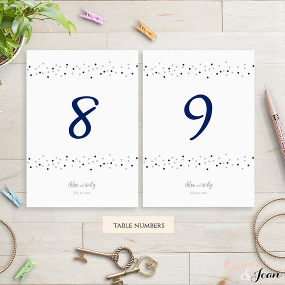 Wedding printable table number template, printable number. Dotty ...