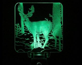 Deer Night Light Decorative Cabin, Lodge, Acrylic, Led. Laser Engraved