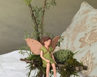 Fairy Bed ~ Tall Grass Fairy Bed with Ladder Includes Zinnia Fairy , Fae Bed, Faerie Bed , Faerie Garden